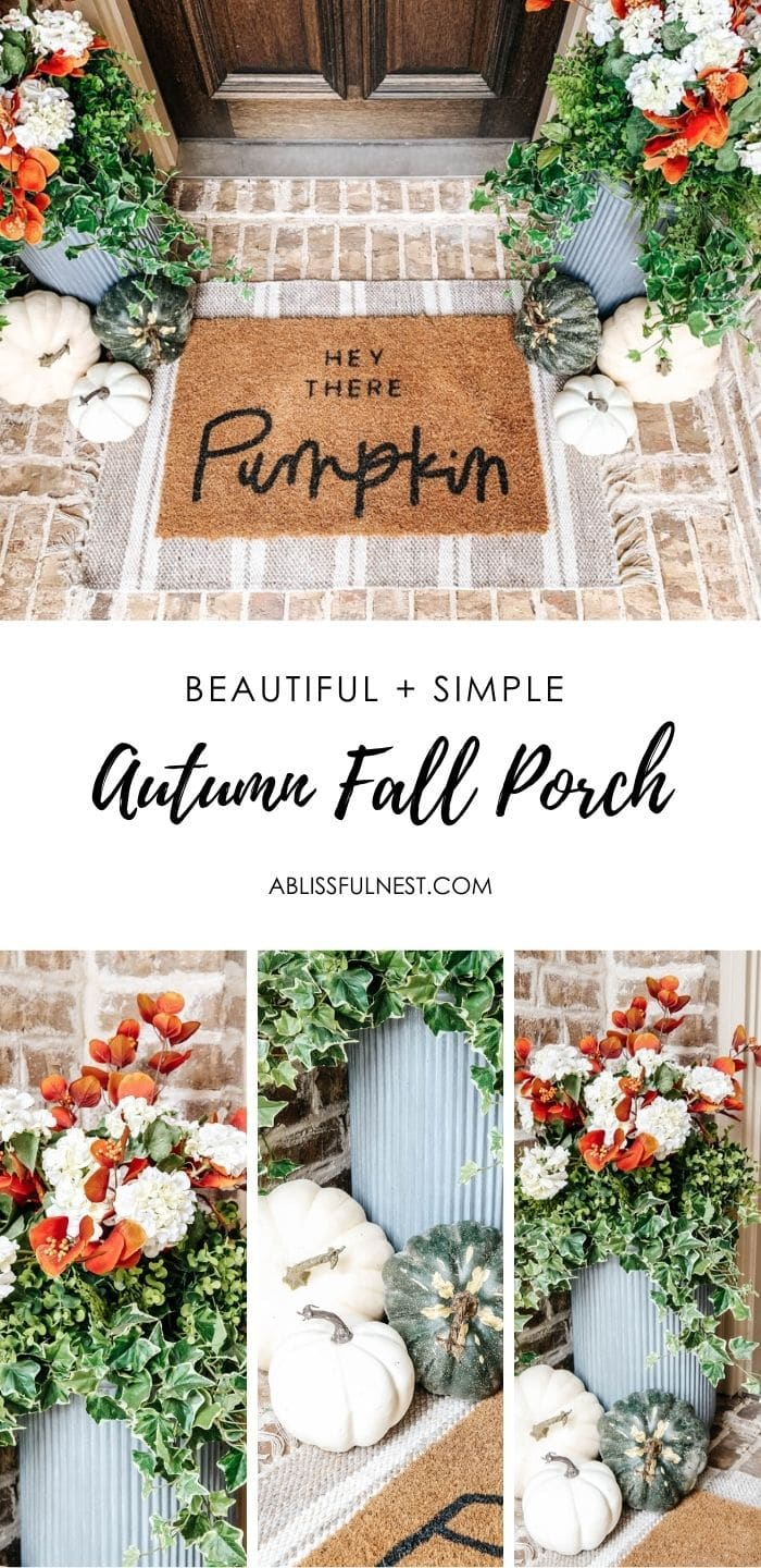 Cozy autumn colors on this fall porch with a orange and white color scheme, pumpkins and faux plants. #ABlissfulNest #fallporch #falldecor