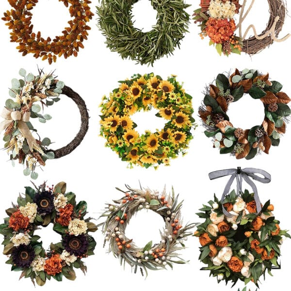 Looking to update your front porch for fall? Love these options for fall wreaths to dress your porch for the season. #ABlissfulNest #falldecor #fallporch