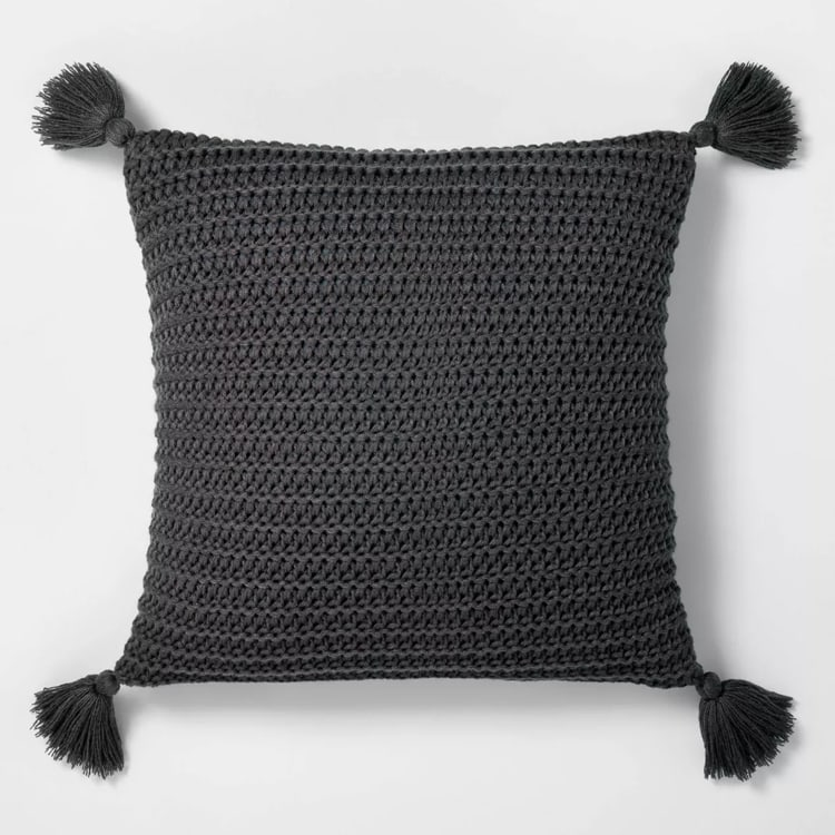 This chunky knit throw pillow is soo cute and perfect to add to your couch for fall! #ABlissfulNest