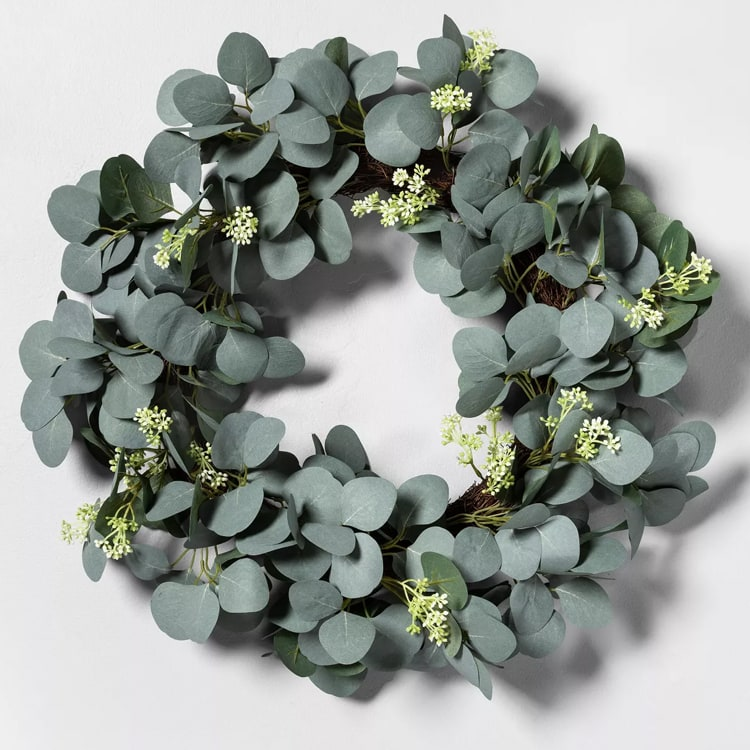 This faux eucalyptus wreath is so pretty and affordable! #ABlissfulNest