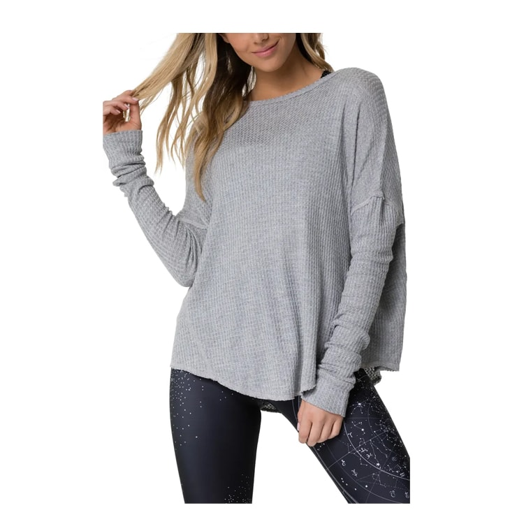 This gray waffle knit pullover is a perfect addition to your closet!