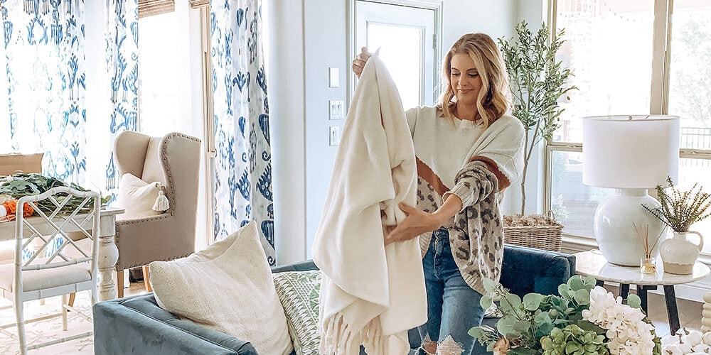 My favorite affordable cozy blanket for fall! #ABlissfulNest #falldecor