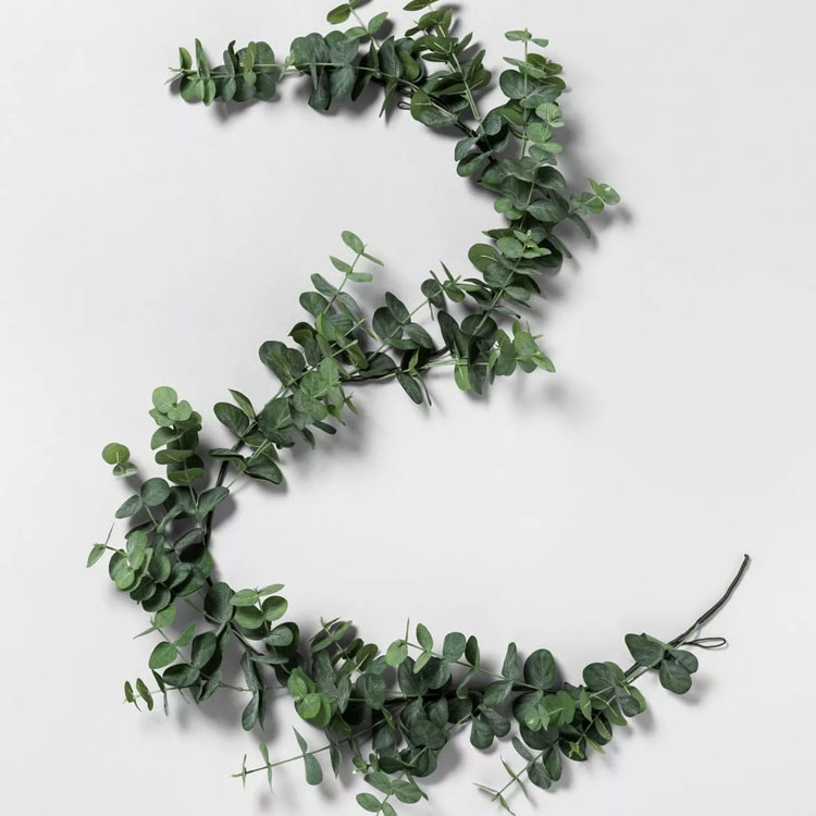 This faux eucalyptus garland is so affordable and pretty! #ABlissfulNest