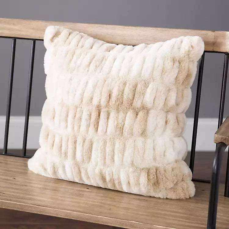 This faux fur throw pillow is the perfect neutral! #ABlissfulNest