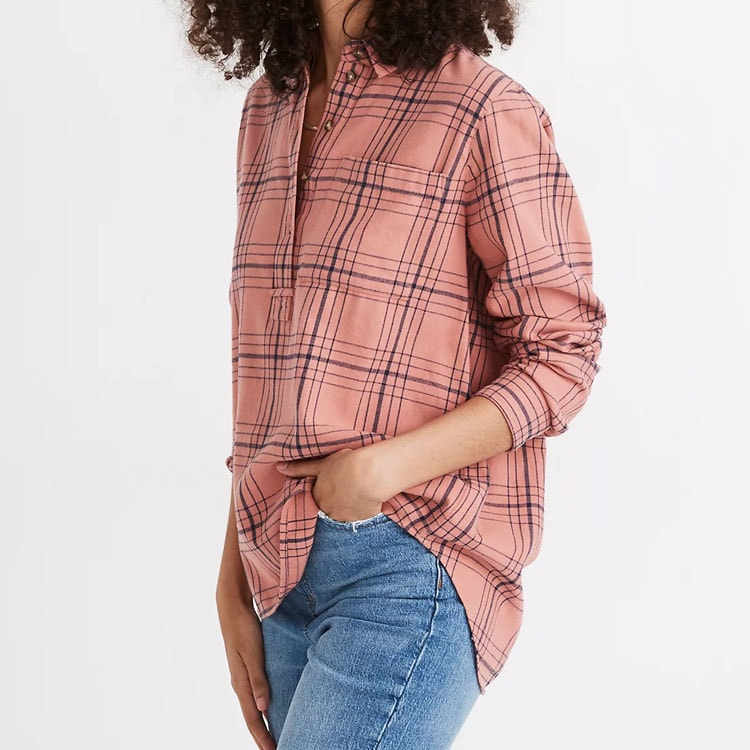 This plaid flannel button down is a perfect fall and winter staple! #ABlissfulNest