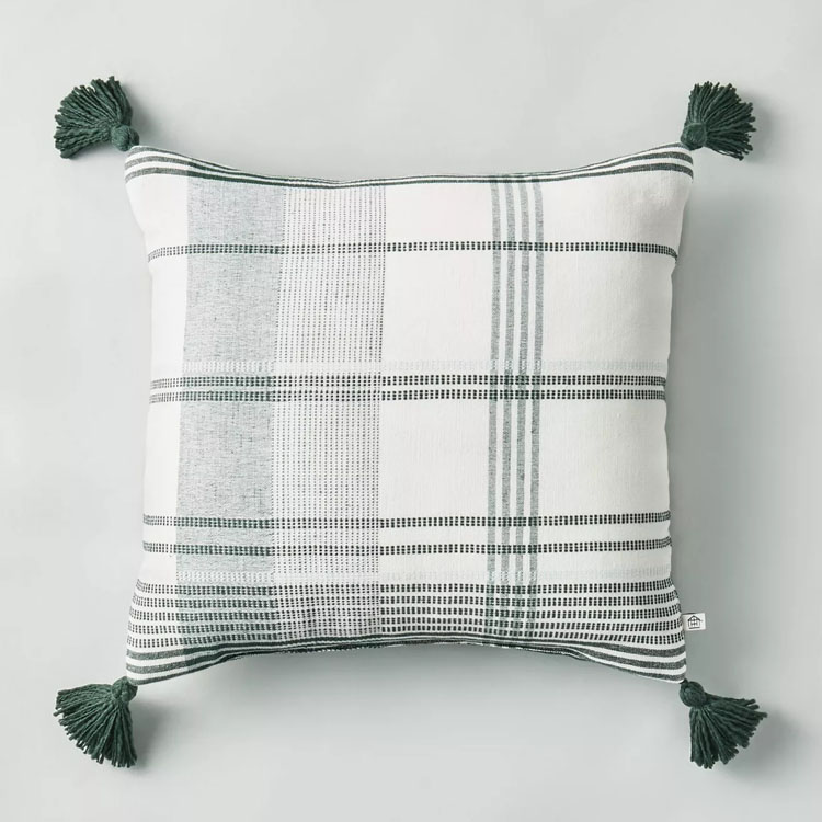 This green plaid throw pillow is perfect to use now AND during the holidays! #ABlissfulNest
