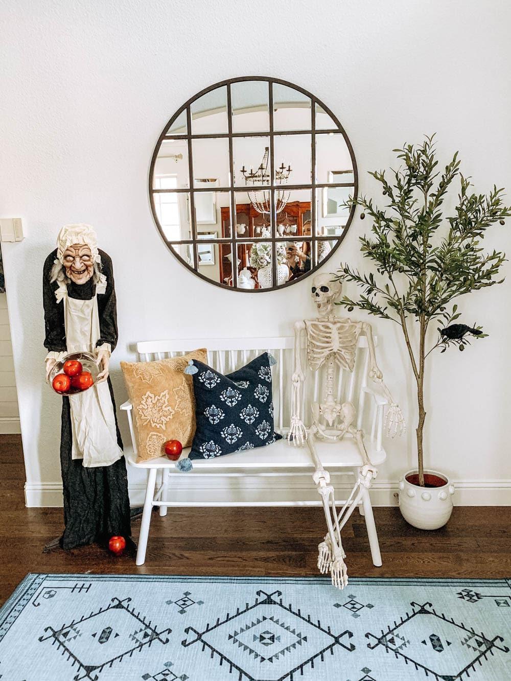 Halloween talking witch, posable skeleton. #ABlissfulNest #halloweendecor #halloweenideas