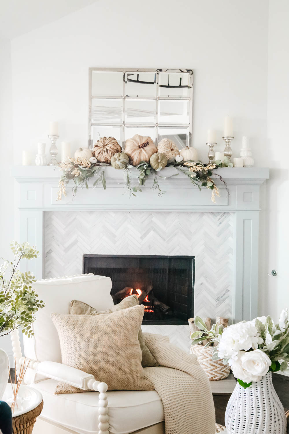 Cluster candles for a warm cozy look for fall. #ABlissfulNest #falldecor