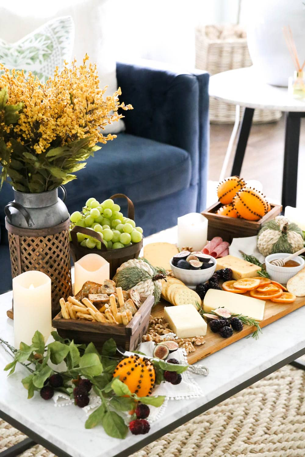 A delicious fall charcuterie board with all these harvest essentials. #ABlissfulNest #fall #cheeseboard #ad #RothCheese