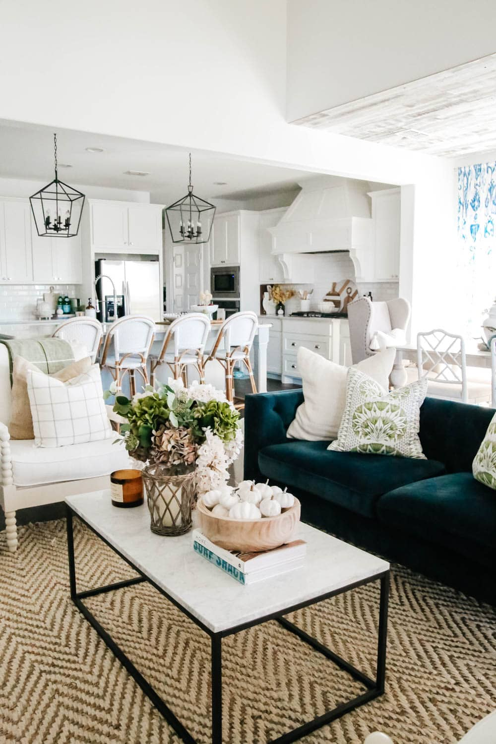 Shades of green and white in this fall home tour. #ABlissfulNest #fallhometour #falldecor