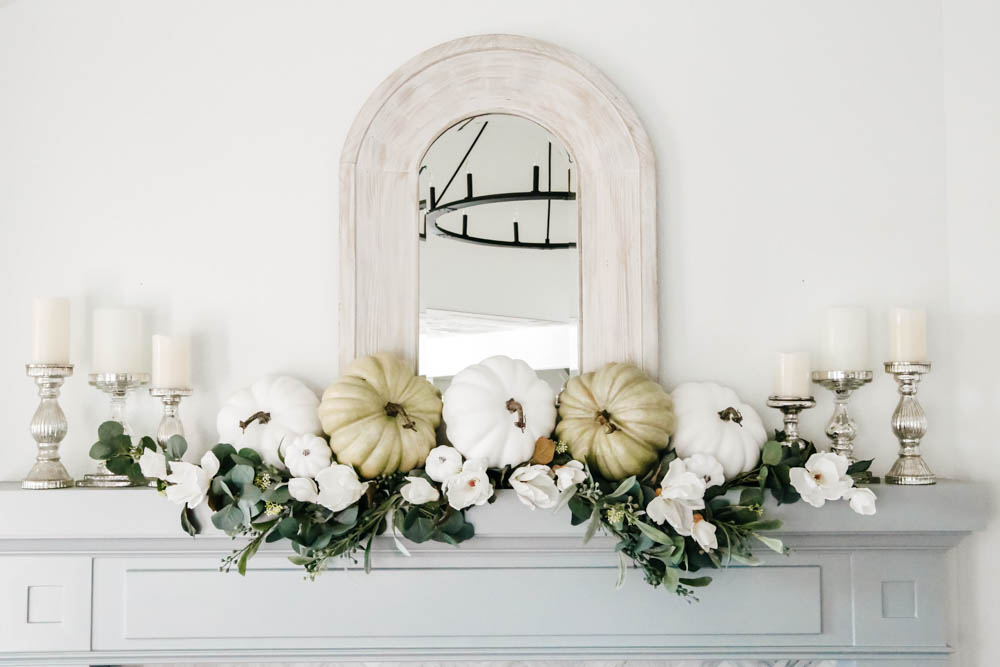 Shades of green and white with mercury glass accents in this fall decor. #ABlissfulNest #falldecor #falldecoratingideas