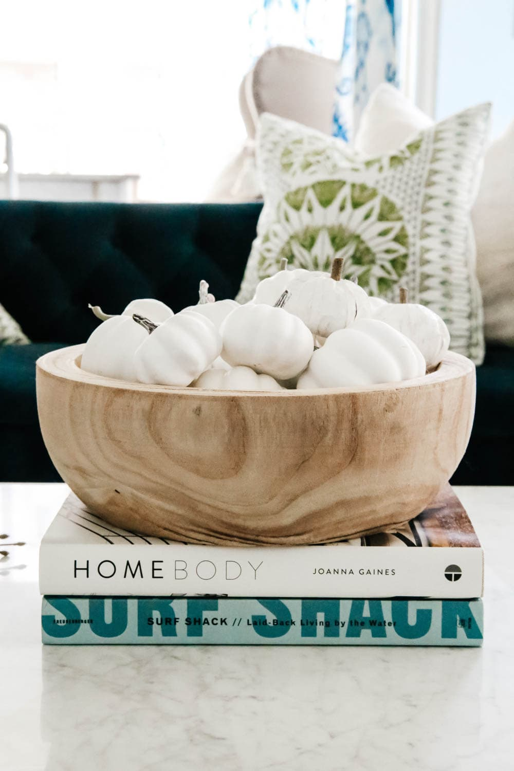 Wood bowl with white pumpkins as filler. #ABlissfulNest #falldecor