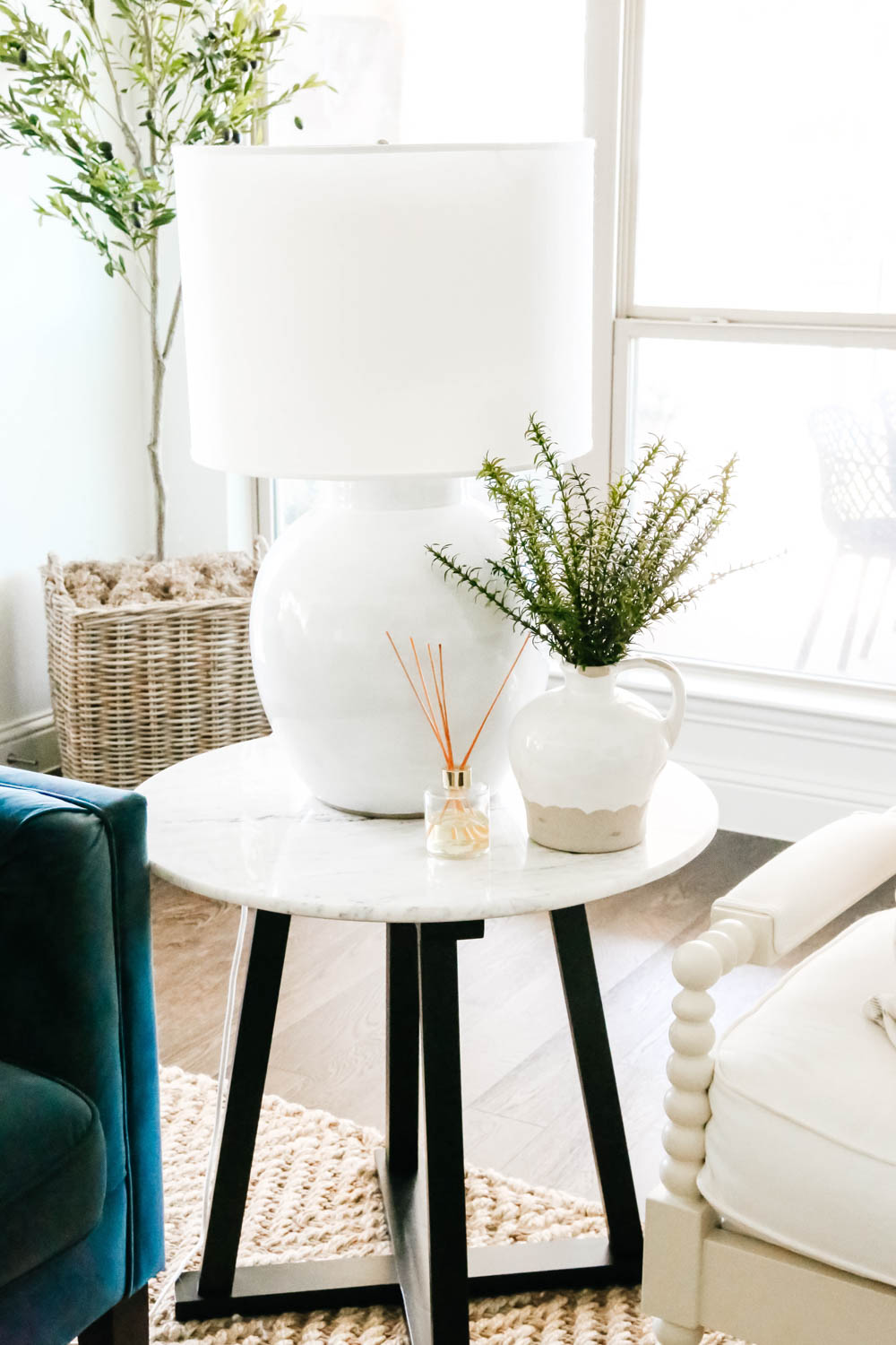 Marble side table, Studio Mcgee table, fall decorating ideas. #ABlissfulNest #falldecor #livingroom