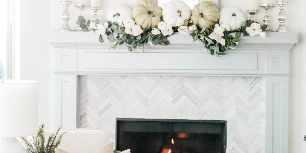 Blue mixed with green and white accents for this fall mantle. #ABlissfulNest #falldecor #livingroom