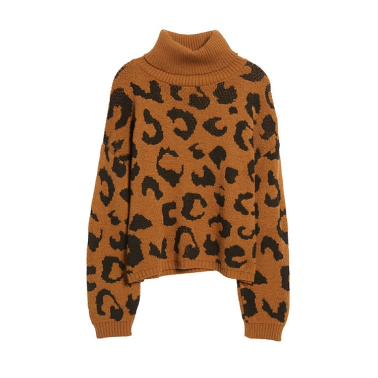 This leopard printed turtleneck sweater is under $50! #ABlissfulNest