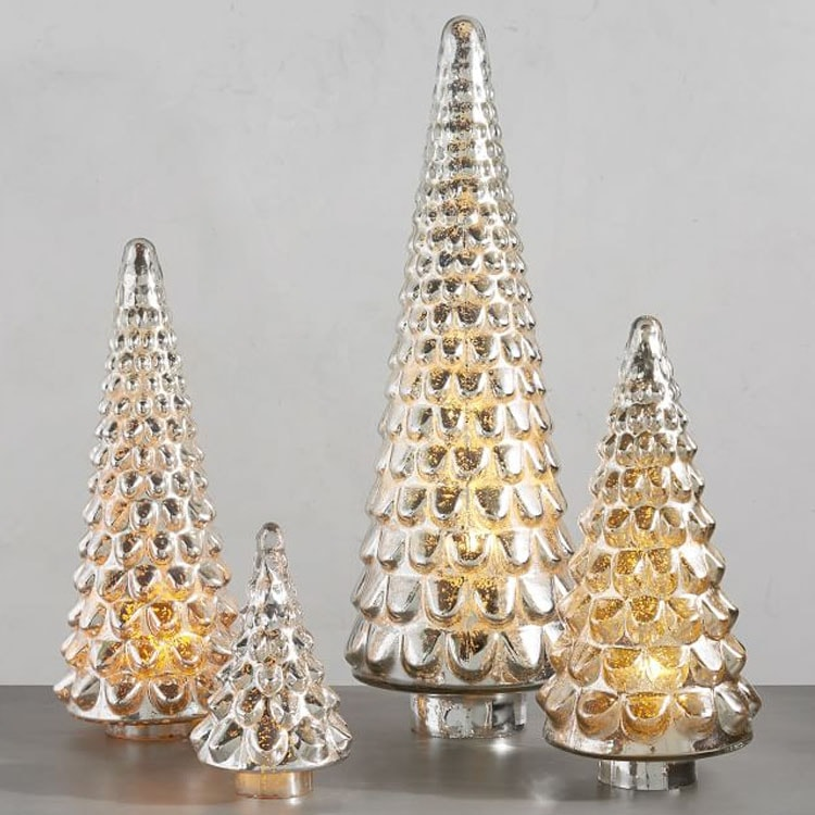 These mercury glass Christmas trees will go with every holiday decor theme! #ABlissfulNest
