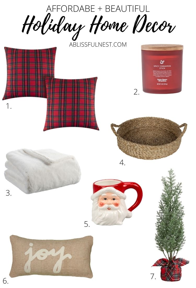 So many affordable home decor pieces to add to your home and great last minute gift ideas. #ABlissfulNest #christmasdecor