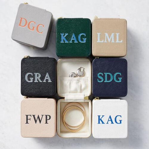 This monogrammed travel jewelry case is such a fun gift idea! #ABlissfulNest