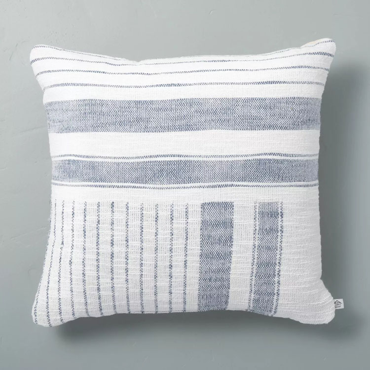 This woven striped pillow is such a stunner! #ABlissfulNest