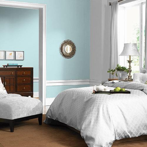bedroom using Misty Aqua one of PPG 2021 Color Trends of the Year