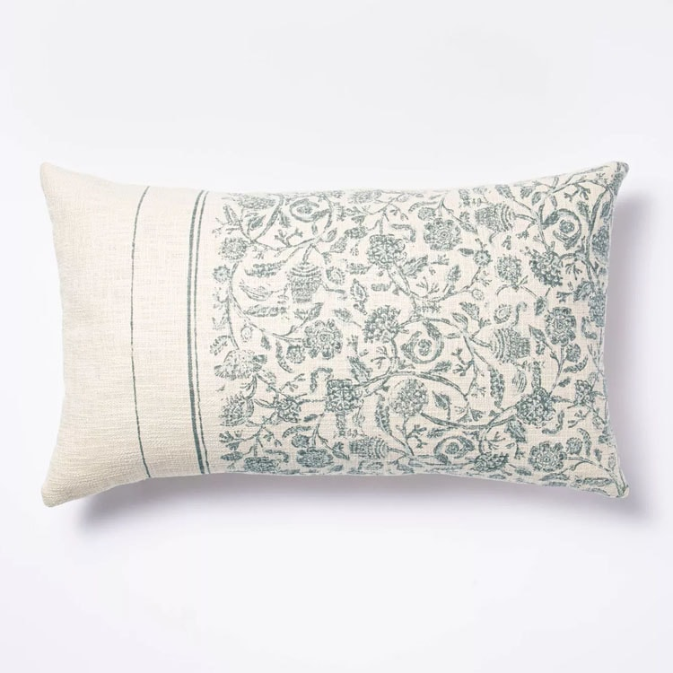 This blue floral lumbar pillow is such a pretty throw pillow for spring! #ABlissfulNest