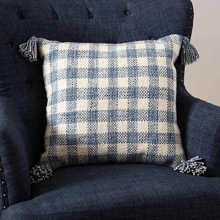 This blue and white check throw pillow is a perfect addition to your couch! #ABlissfulNest