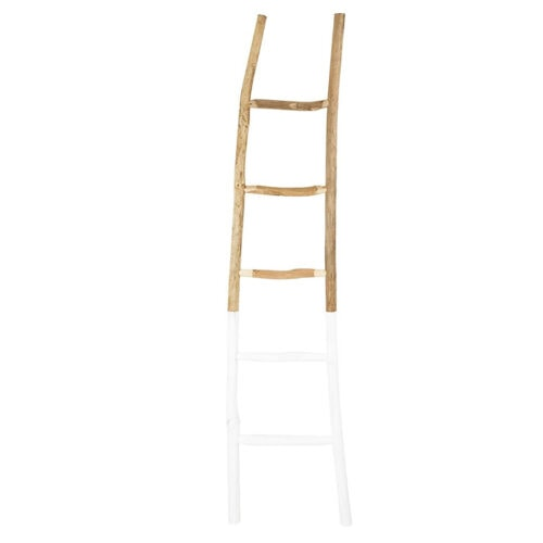 This wooden, white dipped ladder is under $100 and such a fun decor find! #ABlissfulNest