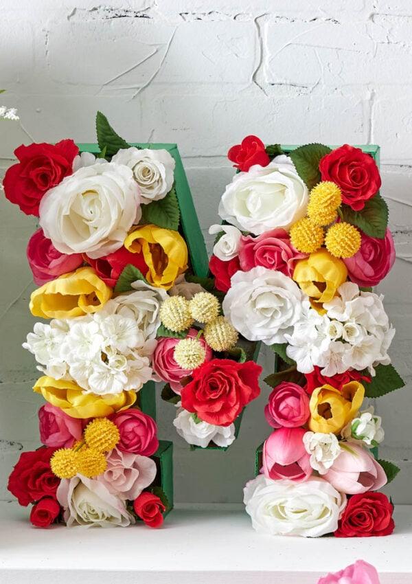 DIY Faux Floral Monogram Letter Tutorial