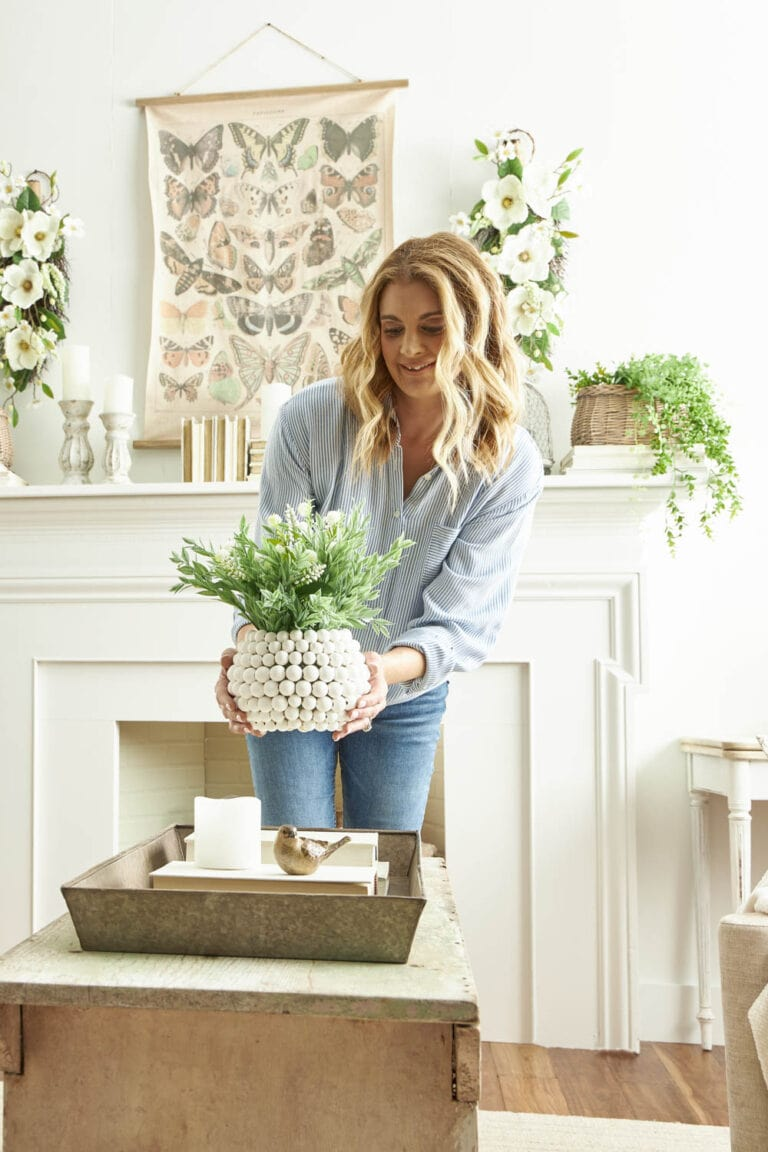 Make this easy DIY wood beaded vase to elevate your home decor. #ABlissfulNest #MakeItWithMichaels #ad