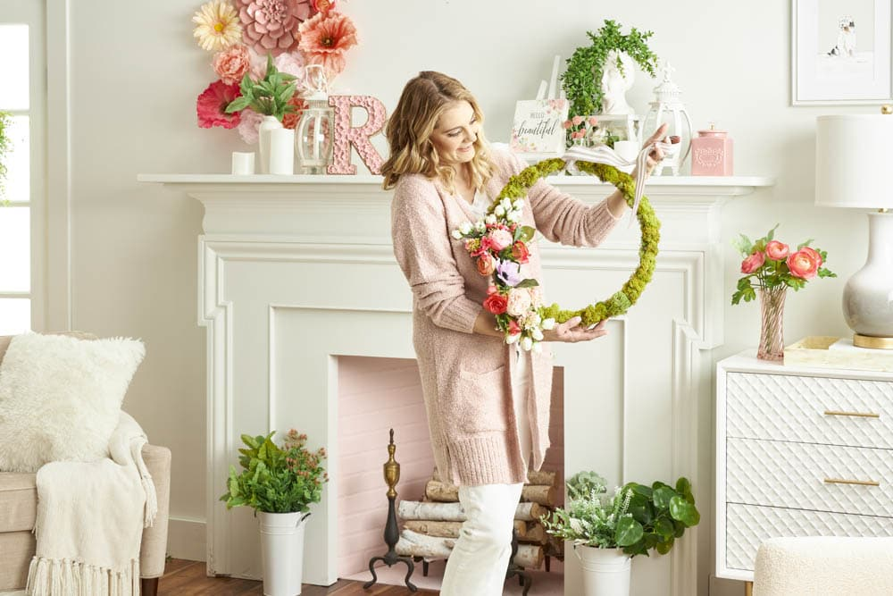 Bring new life to your front porch with this floral moss wreath for spring using materials all found at @Michaelsstores. #ABlissfulNest #MakeItWithMichaels #ad #springwreath