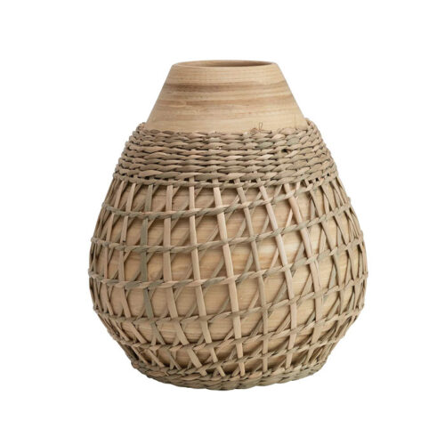 This bamboo and seagrass woven vase is something so different and fun! #ABlissfulNest
