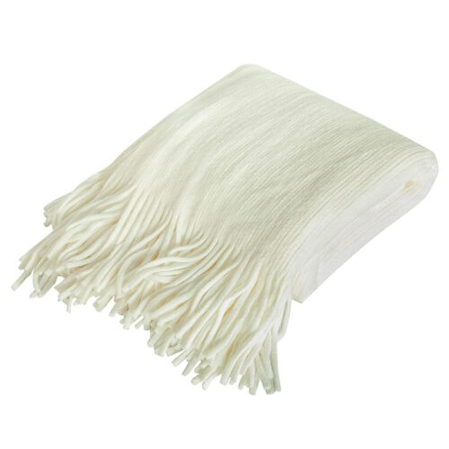 This white knitted throw blanket is under $20 and a perfect, lightweight throw to keep on-hand in your living room! #ABlissfulNest