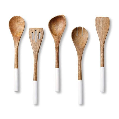 These wooden and white dipped utensils are so beautiful and fun to add to your kitchen! #ABlissfulNest
