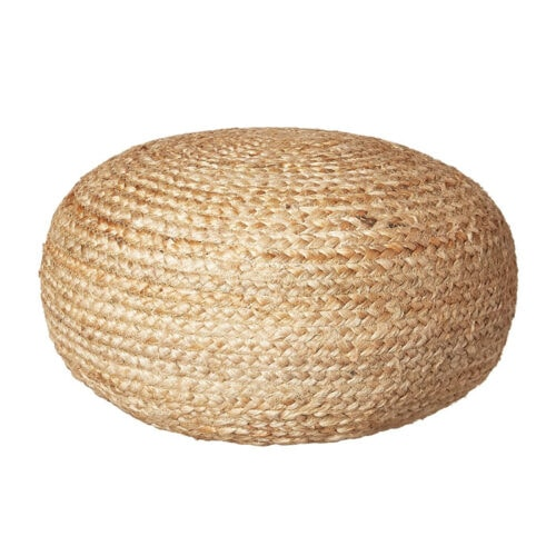 This natural jute pouf is a really easy way to elevate your living room decor! #ABlissfulNest