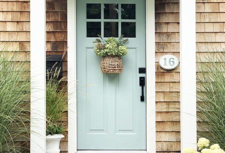 misty aqua paint front door