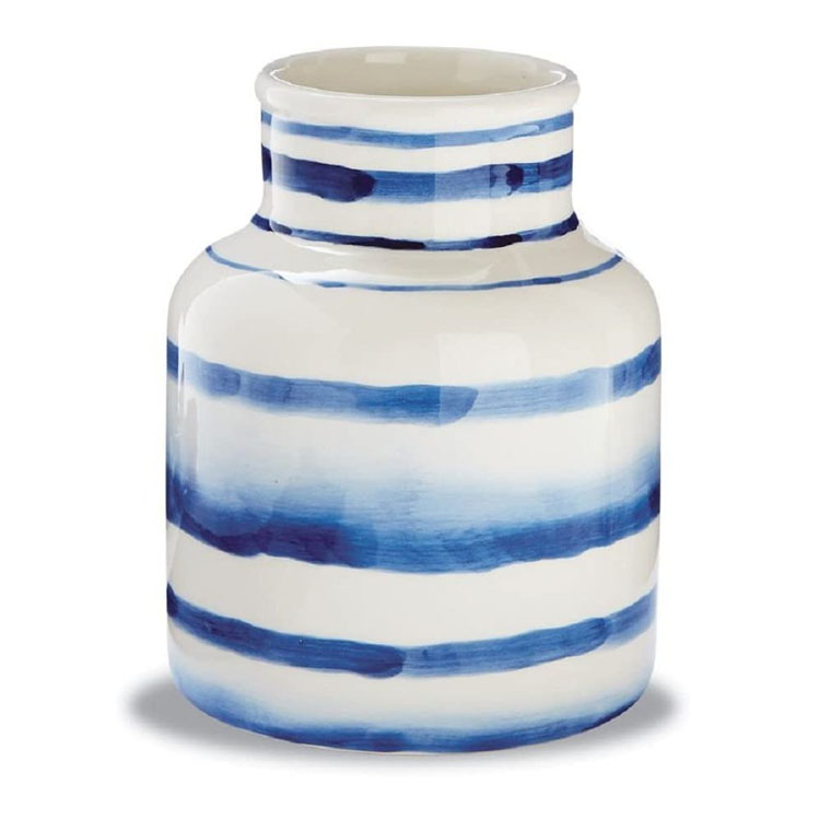 This blue watercolor striped utensil caddy is such a fun piece to add to your kitchen! #ABlissfulNest