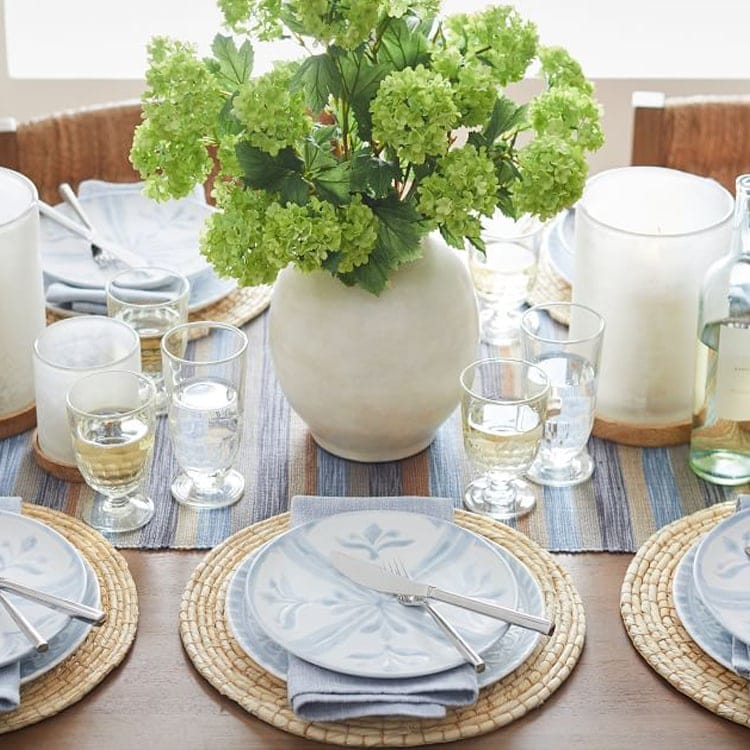 This gorgeous chambray dinnerware set is the perfect way to elevate your spring and summer tables capes! #ABlissfulNest