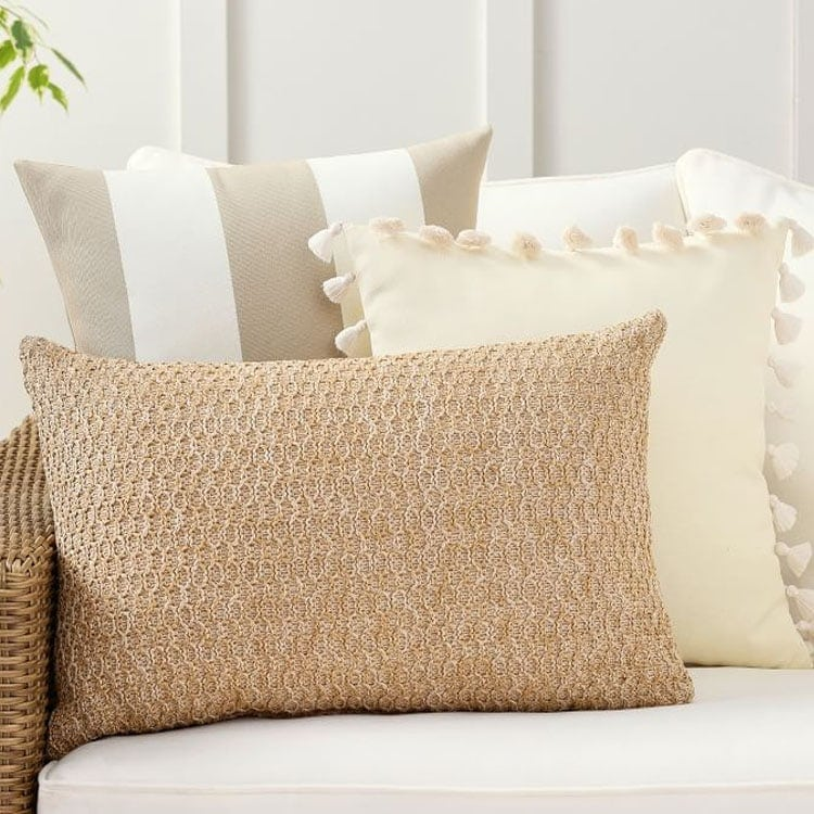 This neutral striped throw pillow set is a must have for your home (indoors and out!) this season! #ABlissfulNest