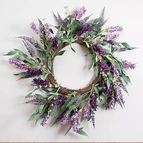 This gorgeous lavender and berry wreath is under $40! #ABlissfulNest