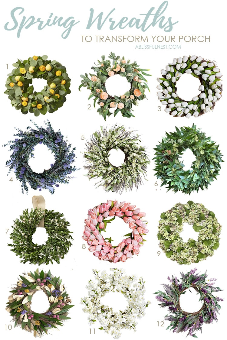 Beautiful and affordable spring wreath options to refresh your porch for the season. #ABlissfulNest #spring #springporch #springwreath