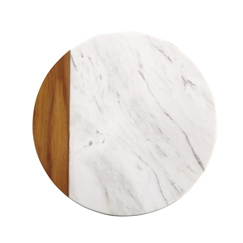 This white marble and teak wood serving board is a beautiful decor addition to your kitchen! #ABlissfulNest