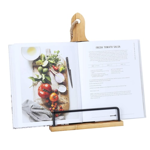 This wooden cookbook stand is SO pretty and SO useful! #ABlissfulNest