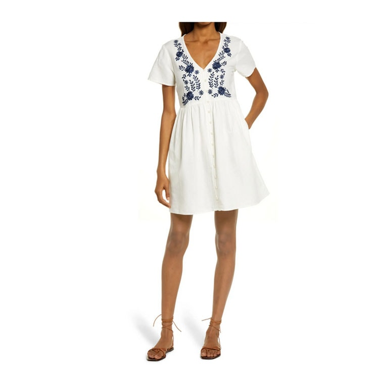 This embroidered linen dress is a must have for spring and summer! #ABlissfulNest