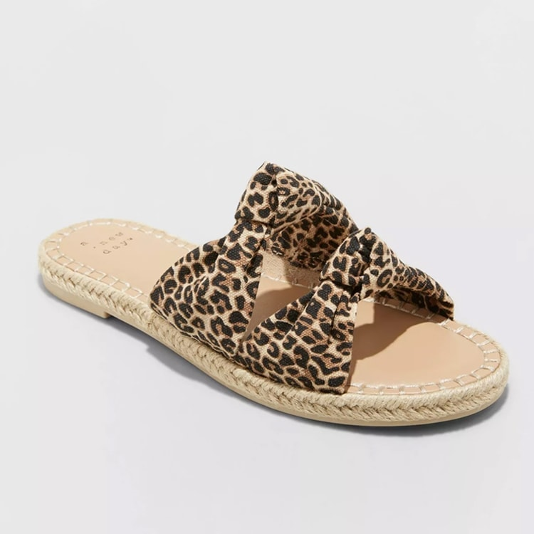 These leopard espadrille slide sandals are so cute for the spring and they are under $25! #ABlissfulNest