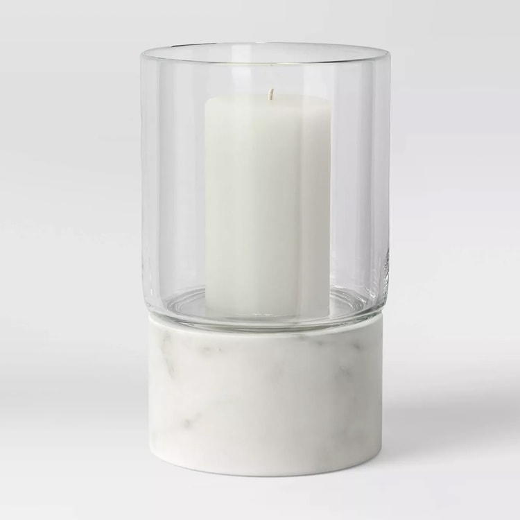 These marble tapered candle holders are such a fun piece of decor - they come in two sizes and are so affordable! #ABlissfulNest