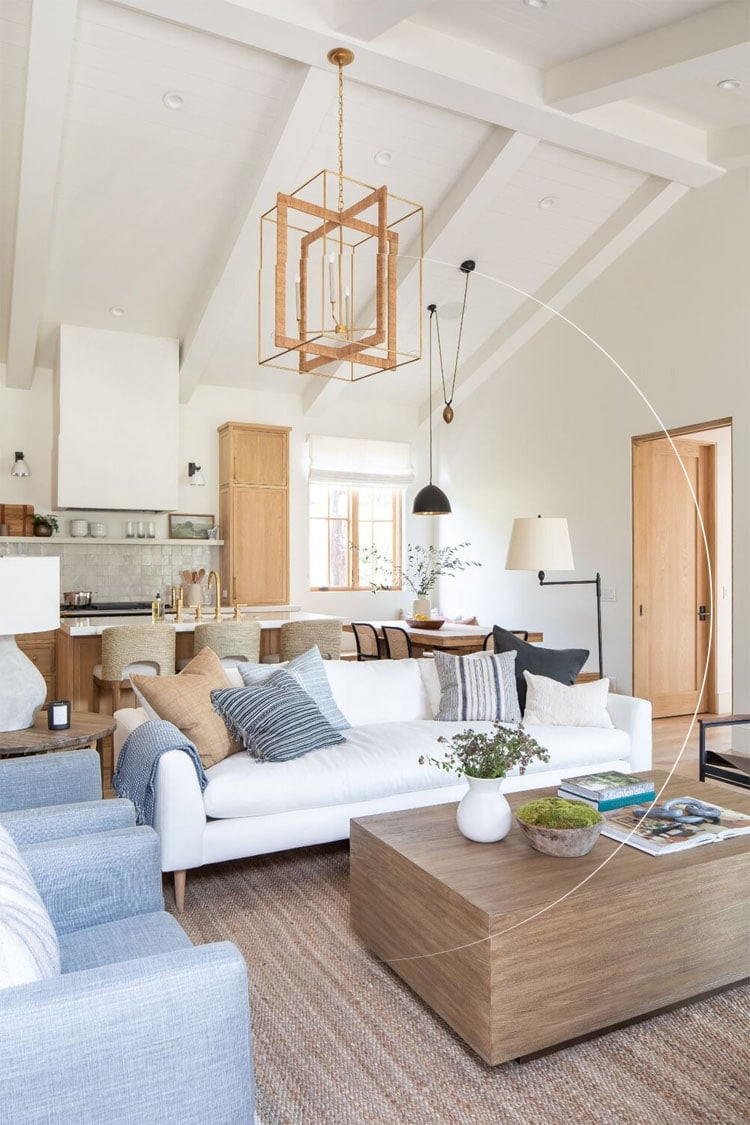 This neutral living area by McGee and Co is such a gorgeous space! I love the pops of blue too!