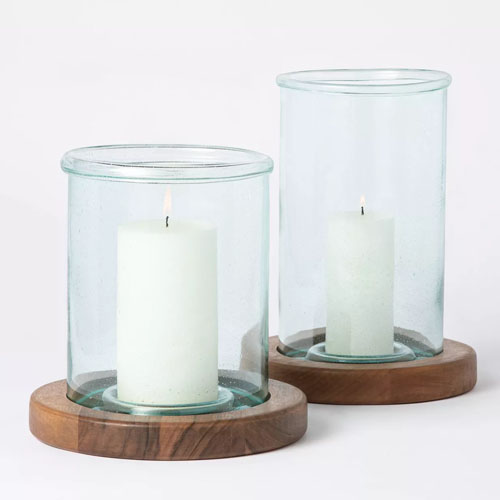 These glass and wood pillar candleholders are SO gorgeous! Perfect outdoor decor this spring! #ABlissfulNest