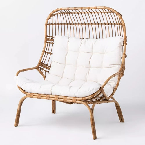 This wicker egg chair is a must have for your patio this spring and summer! #ABlissfulNest