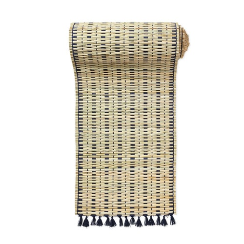 This woven table runner is so pretty for your outdoor dining table! #ABlissfulNest