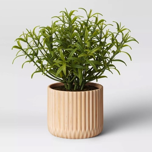 This faux wood planter is perfect for both indoors and outdoors! #ABlissfulNest
